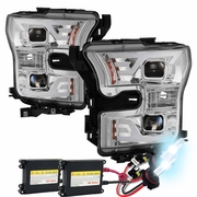 HID Xenon + 2015 2016 2017 Ford F150 LED Light Tube DRL Projector Headlights Chrome