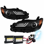 HID Xenon + 2015-2017 Toyota Camry LED DRL Tube Projector Headlights - Black