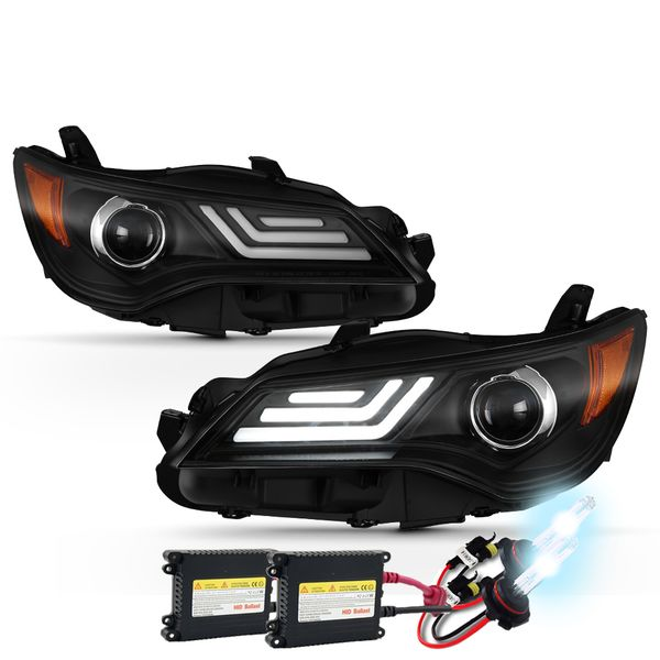 HID Combo 2015-2017 Toyota Camry LED DRL Tube Projector Headlights - Black