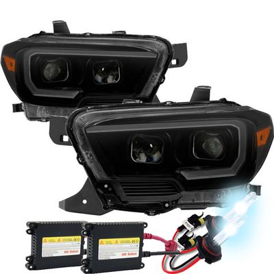 HID Xenon + 2016-2018 Toyota Taocma LED DRL Sequential Signal Projector Headlights - Black Smoked