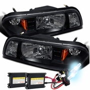 HID Xenon + 87-93 Ford Mustang 1-Piece Crystal Headlights - Black