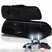 HID Xenon + 87-93 Ford Mustang 1-Piece Crystal Headlights - Smoked