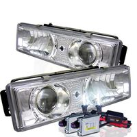 HID Xenon + 88-98 Chevy Full-Size C/K C10 / Silverado / Suburban Projector Headlights - Chrome