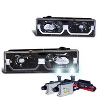 HID Xenon + 88-98 Chevy Full Size C/K / Tahoe / Suburban / Yukon U-Bar Crystal Headlights - Black