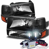 HID Xenon + 92-96 Ford Bronco / F150  / F250 / F350 Crystal Headlights Set - Black