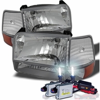 HID Xenon + 92-96 Ford Bronco / F150  / F250 / F350 Crystal Headlights Set - Chrome