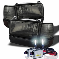 HID Xenon + 92-96 Ford Bronco / F150  / F250 / F350 Crystal Headlights Set - Smoked