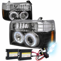 HID Xenon + 92-96 Ford F150/250 Bronco Halo Projector Headlights Black