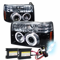HID Xenon + 92-96 Ford F150/250 Bronco Halo Projector Headlights Glossy Black