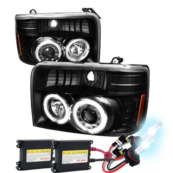 HID Xenon + 92-96 Ford F150 / Bronco Angle Eye Halo & LED Projector Headlights - Black