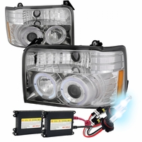 HID Xenon + 92-96 Ford F150 / Bronco Angle Eye Halo & LED Projector Headlights - Chrome