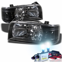 HID Xenon + 92-96 Ford F150 F250 F350 Bronco LED Crystal Headlights - Black