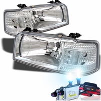 HID Xenon + 92-96 Ford F150 F250 F350 Bronco LED Crystal Headlights - Chrome