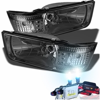 HID Xenon + 92-96 Ford F150 F250 F350 Bronco LED Crystal Headlights - Smoked