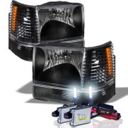 HID Xenon + 93-96 Jeep Grand Cherokee Crystal Headlights - Black