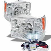 HID Xenon + 93-96 Jeep Grand Cherokee Crystal Headlights - Chrome