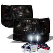 HID Xenon + 93-96 Jeep Grand Cherokee Crystal Headlights - Smoked