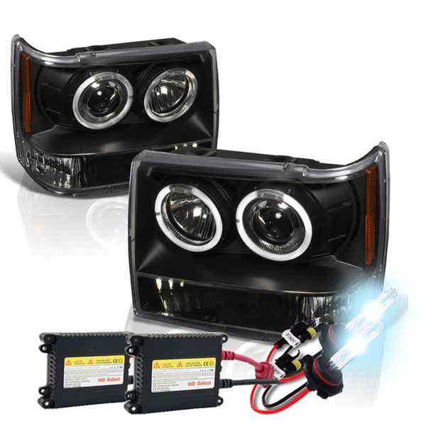 HID Xenon + 93-96 Jeep Grand Cherokee Dual Halo Projector Headlights - Black