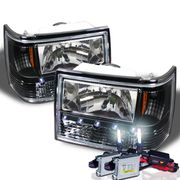HID Xenon + 93-98 Jeep Grand Cherokee Euro Style LED Crystal Headlights - Black