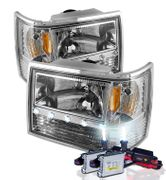 HID Xenon + 93-98 Jeep Grand Cherokee Euro Style LED Crystal Headlights - Chrome