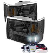 HID Xenon + 93-98 Jeep Grand Cherokee Euro Style LED Crystal Headlights - Smoked