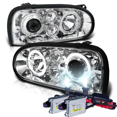 HID Xenon + 93-98 Volkswagen Golf Cabrio MK3 Halo Projector Headlights - Chrome