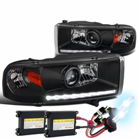 HID Xenon + 94-01 Dodge RAM 1500 2500 3500 DRL LED Projector Headlights - Black
