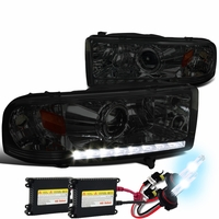 HID Xenon + 94-01 Dodge RAM 1500 2500 3500 DRL LED Projector Headlights - Smoked