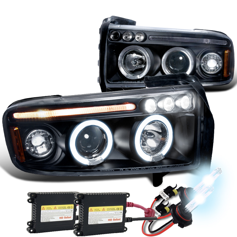 HID Xenon + 94-01 Dodge Ram Angel Eye Halo LED Projector ... on