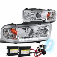 HID Xenon + 94-01 Dodge RAM 1500 2500 3500 DRL LED Projector Headlights - Chrome