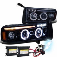 HID Xenon + 94-01 Dodge Ram Angel Eye Halo LED Projector Headlights - Glossy Black