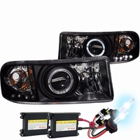 HID Xenon + 94-01 Dodge Ram CCFL (Optional) Angel Eye Halo LED Projector Headlights - Black