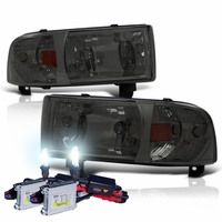 HID Xenon + 94-01 Dodge Ram Truck 1-Piece Crystal Headlights - Smoked