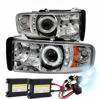 HID Xenon + 94-01 Dodge Ram Truck Angel Eye Halo & LED Projector Headlights - Chrome