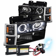HID Xenon + 94-98 Chevy C10 Angel Eye Halo Projector Headlights Set - Black