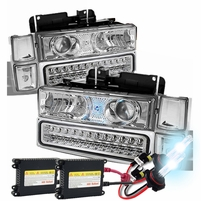 HID Xenon + 94-98 Chevy C10 / CK / Tahoe / Suburban / Silverado LED Projector Headlights + Corner + LED Bumper Lights - Chrome