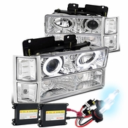 HID Xenon + 94-98 Chevy C10 / Silverado / Suburban / Tahoe / CK Full Size Halo Projector Headlights - Chrome