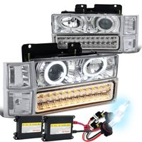 HID Xenon + 94-98 Chevy Full Size Pickup C10 C/K Halo Projector Headlights + LED Bumper Lights - Chrome / Clear