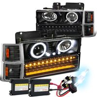 HID Xenon + 94+98 Chevy Full Size Pickup CK C10 Halo Projector Headlights - Black