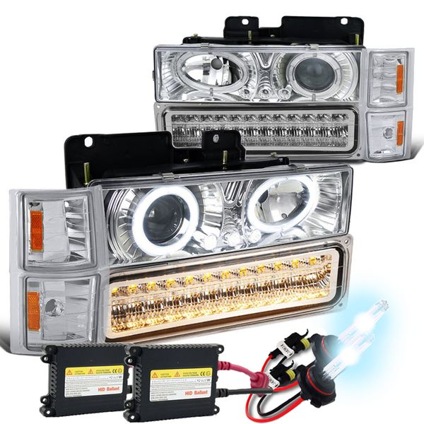 HID Xenon + 94+98 Chevy Full Size Pickup CK C10 Halo Projector Headlights - Chrome