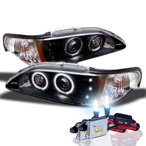 HID Xenon + 94-98 Ford Mustang Angel Eye Halo & LED Projector Headlights - Black