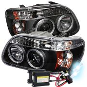 HID Xenon + 95-01 Ford Explorer Angel Eye Halo & LED Projector Headlights - Black