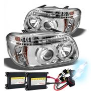HID Xenon + 95-01 Ford Explorer Angel Eye Halo & LED Projector Headlights - Chrome