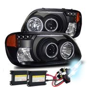HID Xenon + 95-01 Ford Explorer CCFL Angel Eye Halo & LED DRL Projector Headlights - Black