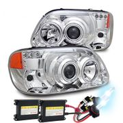 HID Xenon + 95-01 Ford Explorer CCFL Angel Eye Halo & LED DRL Projector Headlights - Chrome