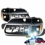 HID Xenon + 95-01 Ford Explorer Euro Style Crystal Headlights - Black