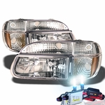 HID Xenon + 95-01 Ford Explorer Euro Style Crystal Headlights - Chrome