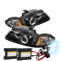HID Xenon + 96-00 Dodge Caravan / Voyager Halo & LED Projector Headlights - Black