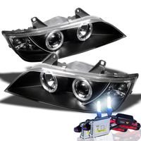 HID Xenon + 1996-2002 BMW Z3 Angel Eye Halo Projector Headlights - Black