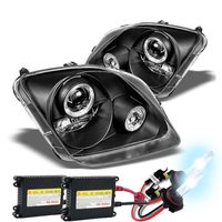 HID Xenon + 97-01 Honda Prelude Angel Eye Halo Projector Headlights - Black
